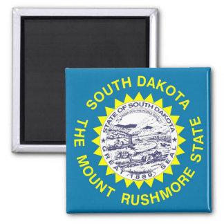 Imán con la bandera del estado de Dakota del Sur -
