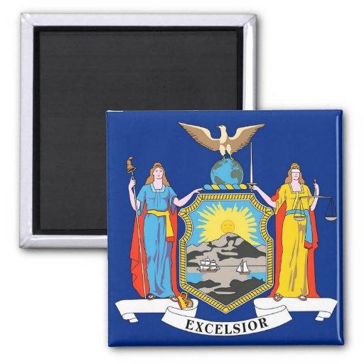 Imán con la bandera del Estado de Nuevo York - los