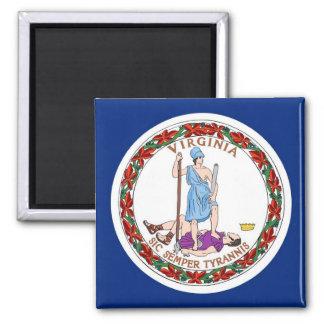 Imán con la bandera del estado de Virginia - los E