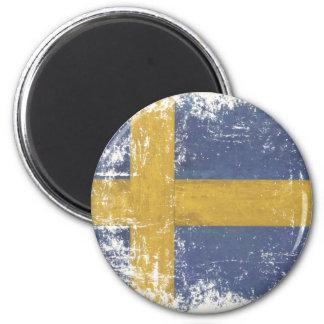 Imán con la bandera sucia del vintage de Suecia