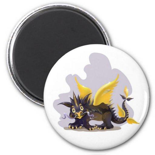 Imán con la imagen negra divertida del dragón