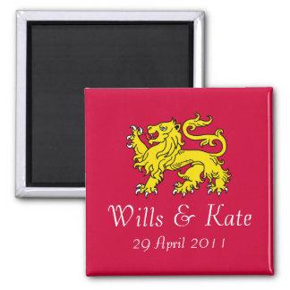 Imán conmemorativo del boda real británico (rojo)