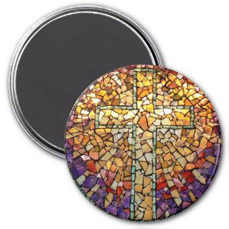 """Imán """"cruz """" del mosaico del vitral"""