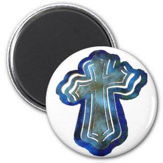 Imán cruzado acodado azul