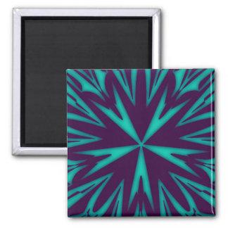 Imán cuadrado azul del arte abstracto
