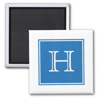 Imán cuadrado azul del monograma