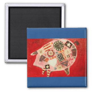 Imán cuadrado con diseño brillante del cerdo
