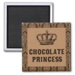 Imán cuadrado de la princesa del chocolate