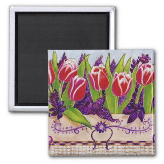 Imán cuadrado de los tulipanes de la primavera