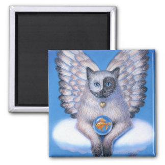 Imán cuadrado de Yin gatito Yang del ángel del g