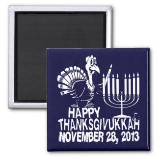 Imán cuadrado feliz de Thanksgivukkah