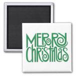 Imán cuadrado verde de las Felices Navidad