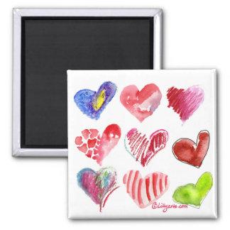 Imán de 9 corazones de la tarjeta del día de San V