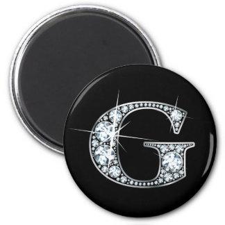 "Imán de Bling del diamante de ""G"""