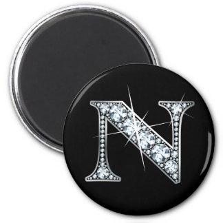 """Imán de Bling del diamante de """"N"""""""