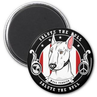 Imán de bull terrier redondo