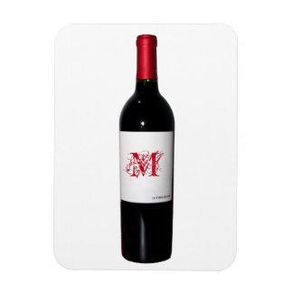 Imán de Flexi de la botella de vino del monograma
