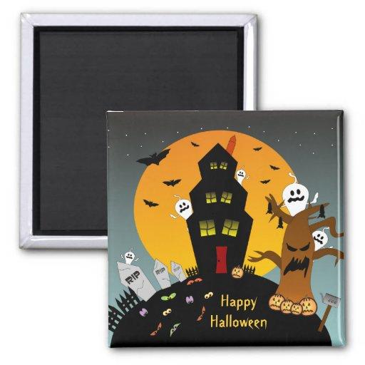 Imán de Halloween de la casa encantada