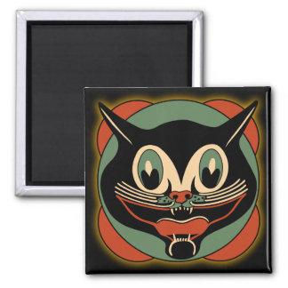 Imán de Halloween del gato del art déco del vintag