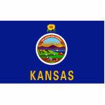 Imán de la bandera de Kansas cortado Esculturas Fotográficas