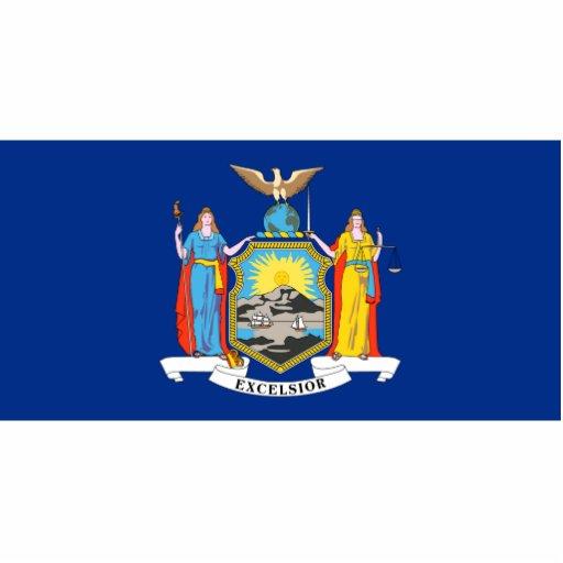 Imán de la bandera de Nueva York cortado Esculturas Fotográficas