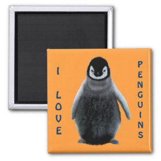 Imán de la bella arte del Pingüino-amante del bebé