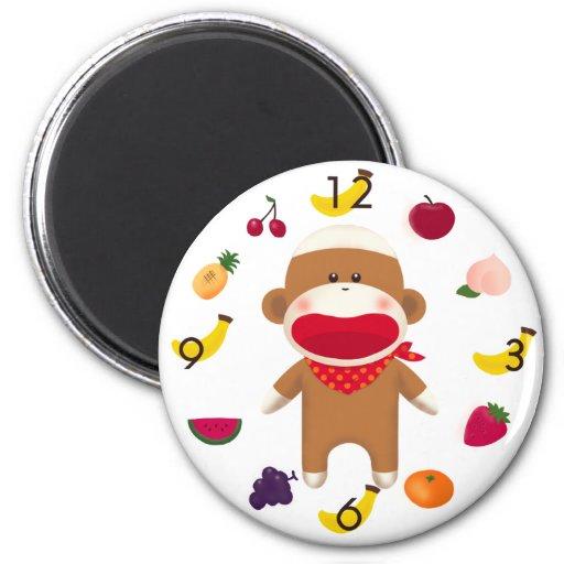 Imán de la cesta de fruta del mono del calcetín
