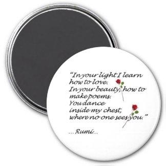 Imán de la cita del amor de Rumi redondo