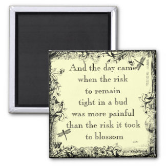 Imán de la cita del riesgo de Anais Nin