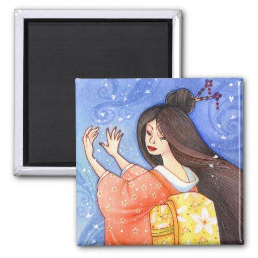 Imán de la ducha de Sakura, arte del kimono del ge