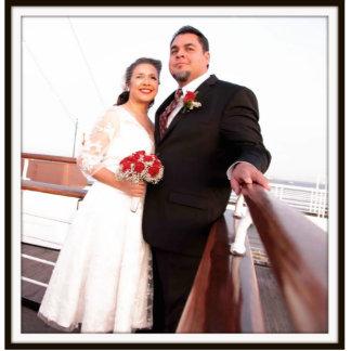 Imán de la escultura de novia y del novio escultura fotográfica
