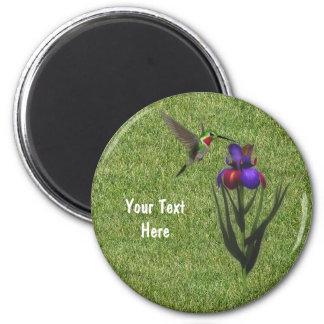 Imán de la flor del iris del colibrí