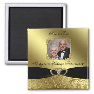 Imán de la foto de Annivesary del boda de oro