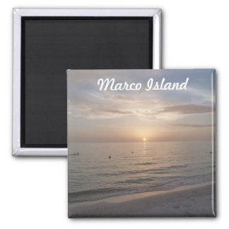 Imán de la foto de la puesta del sol de la playa d
