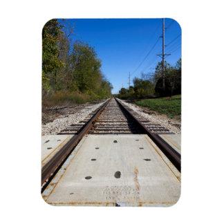 Imán de la foto de las pistas de ferrocarril