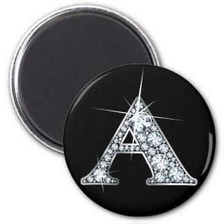 """Imán de la impresión de Bling del diamante de """"A"""""""