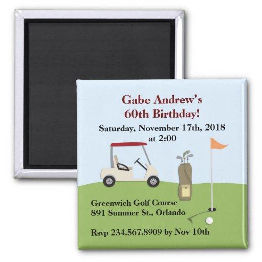 Imán de la invitación del cumpleaños del golf