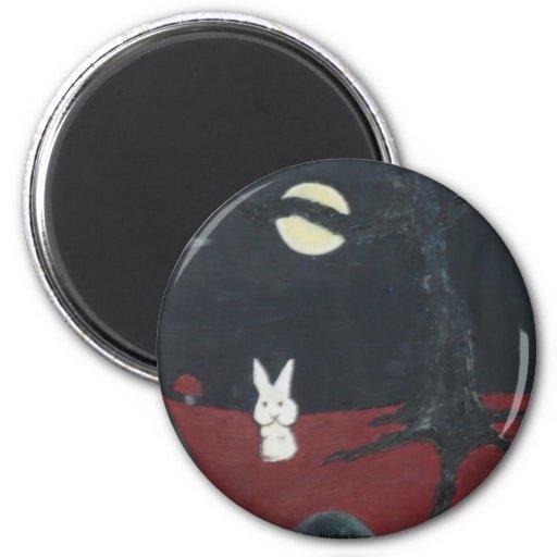 imán de la luna del conejito