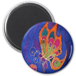 Imán de la mariposa: Seda pintada por Cyn Mc