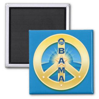 Imán de la paz de Obama Goldstar, cuadrado en azul