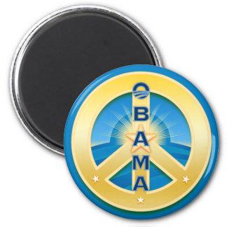 Imán de la paz de Obama Goldstar, redondo en azul