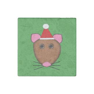 Imán de la piedra del ratón de las Felices Navidad Imán De Piedra