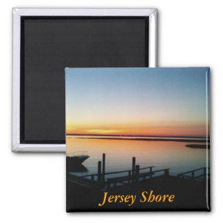 Imán de la puesta del sol de la orilla del jersey