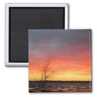 Imán de la puesta del sol del lago ice