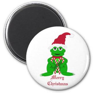 Imán de la rana de las Felices Navidad