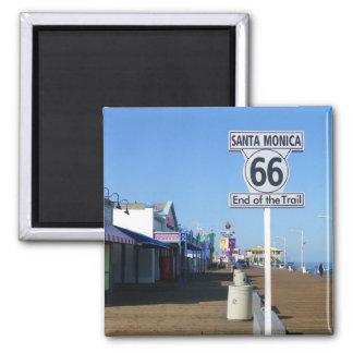 ¡Imán de la ruta 66 de Santa Mónica! Imán Cuadrado