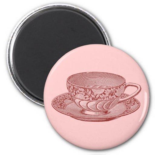 Imán de la taza de té rosado del vintage