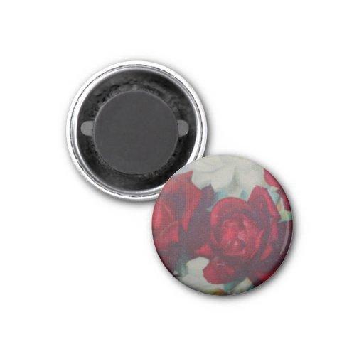 Imán de la tela del vintage del rosa rojo