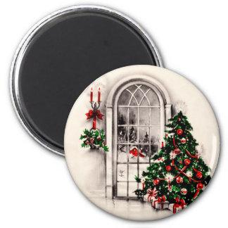 Imán de la ventana del navidad del vintage