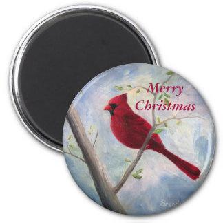 imán de las Felices Navidad cardinales,